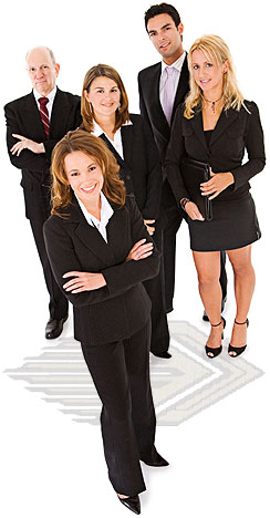 group of men & women in business