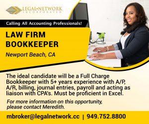 Law Firm Bookkeeper- Newport Beach, CA - Legal Jobs