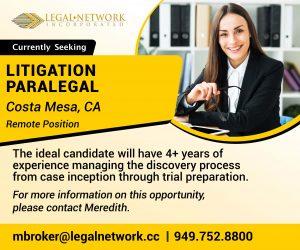 Litigation Paralegal – Costa Mesa, CA - Legal Job