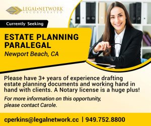Estate Planning Paralegal – Newport Beach - Legal Jobs